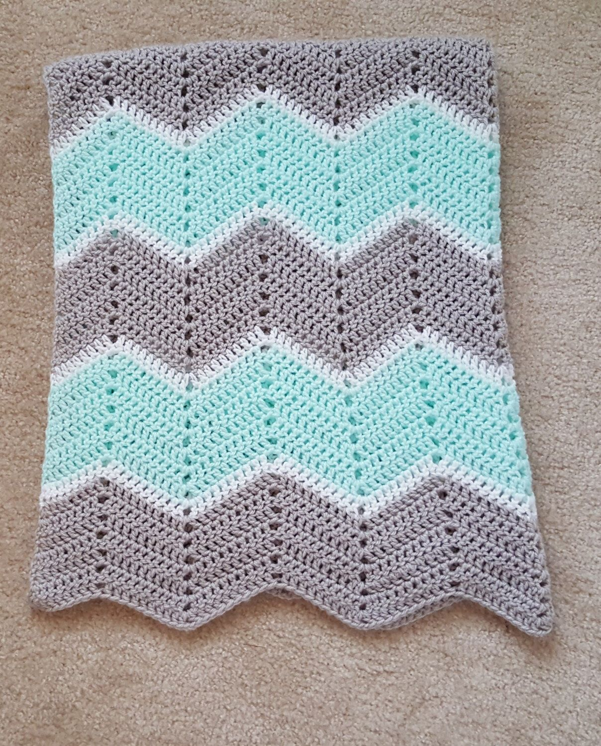 Gender Neutral Light Gray and Mint Green Chevron Baby Blanket by ...