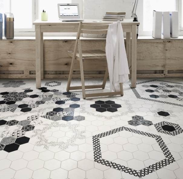 Extruded Floor Tiles In Hexagonal Shape P Modeli Mix 6 X7 Black White Tileofspain