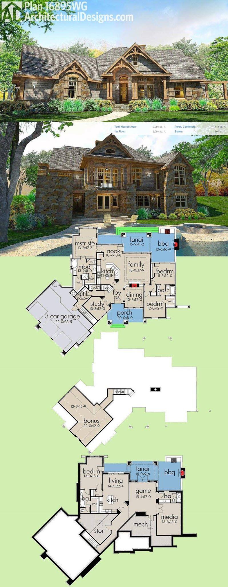 plan 16895wg stunning craftsman with 3 car garage and expansion up