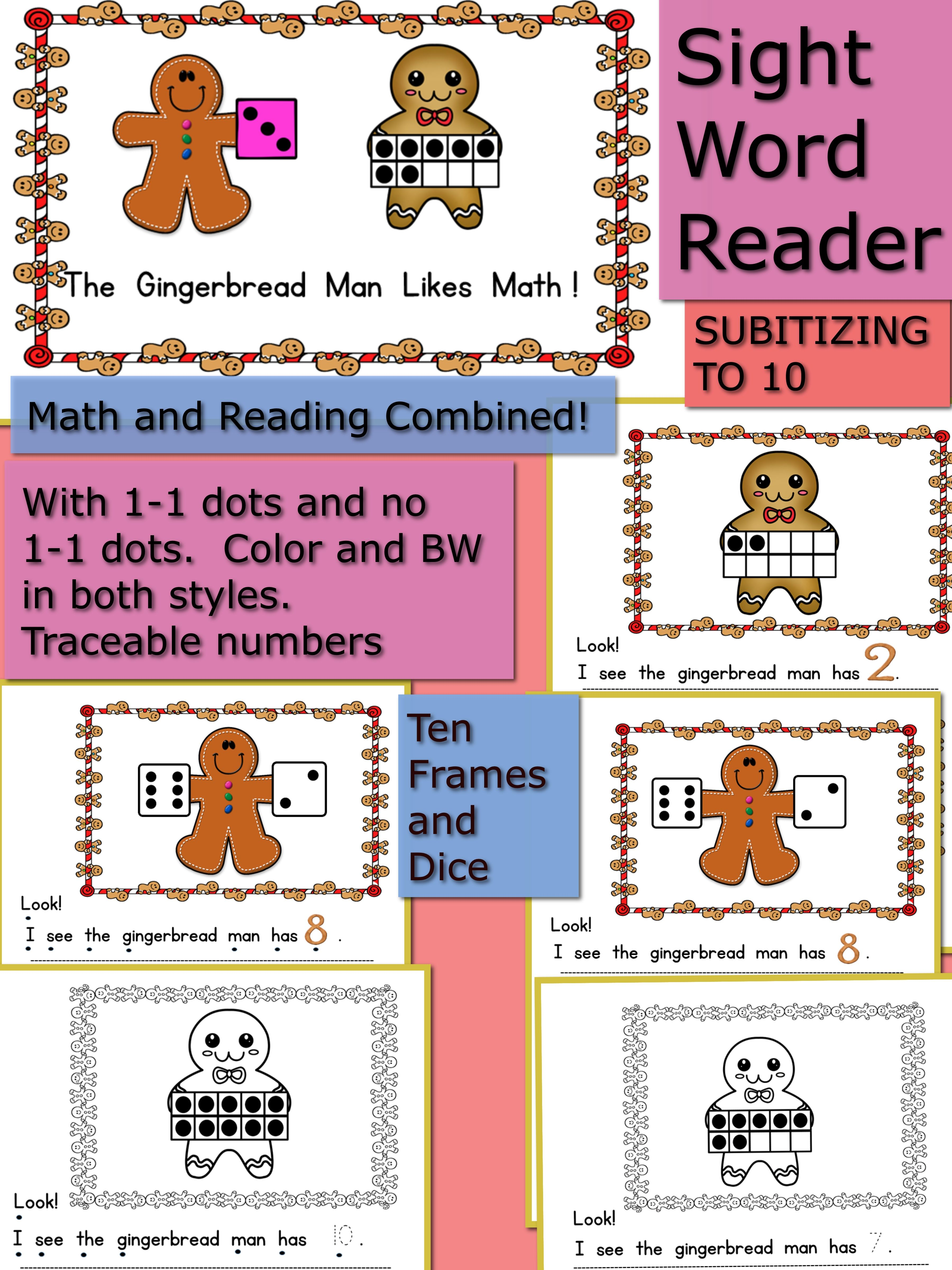 The Gingerbread Man Emergent Sight Word Subitizing To 10