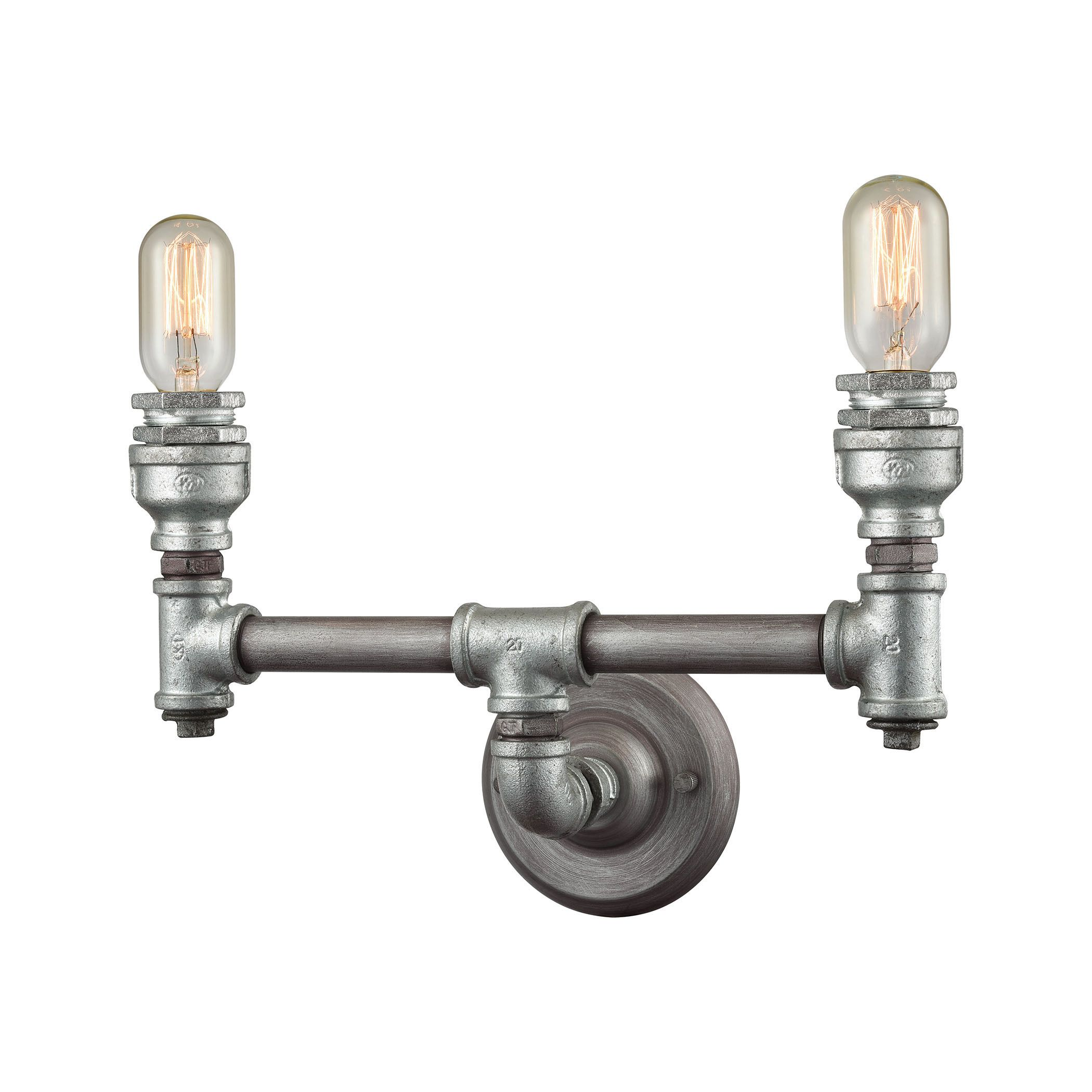 Iron Pipe Light Fixture Elk Cast Iron Pipe 2 Light Vanity In Weathered Zinc