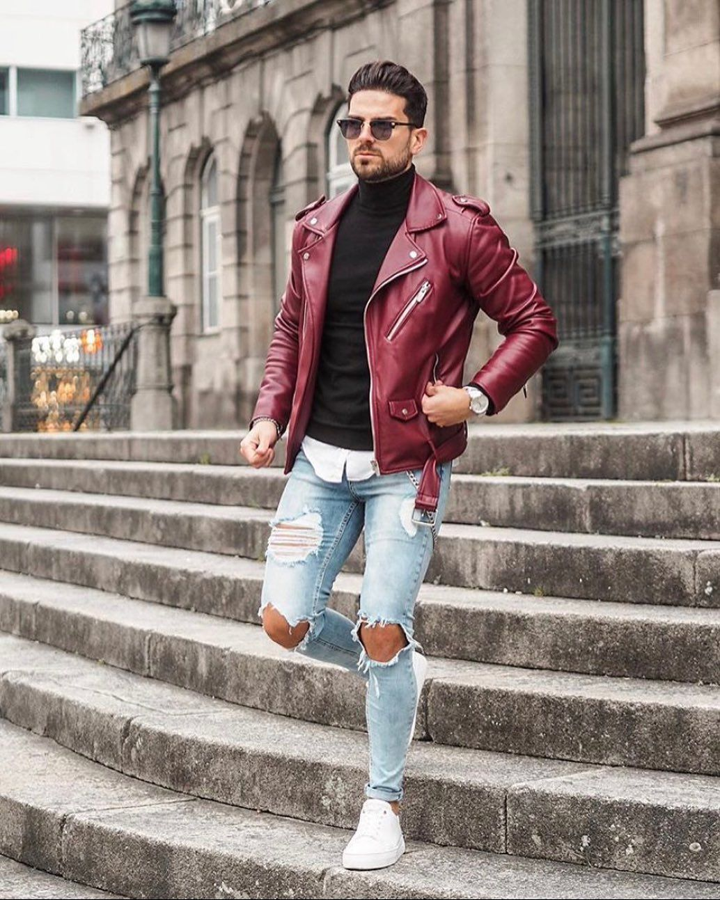 Weekend Outfit What Do You Think About The Burgundy Leather Jacket Leather Jacket Outfit Men Leather Jacket Men Burgundy Jacket Outfit [ 1293 x 1034 Pixel ]