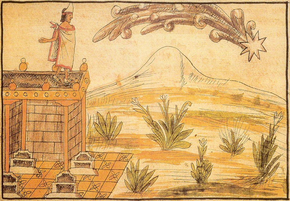 Moctezuma watches a comet in an image from the Duran Codex, which is one of the earliest European works on the history of the Aztecs. It was produced by Diego Duran, a Dominican priest, who finished...