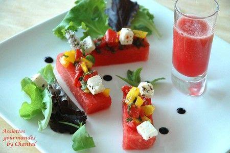 Tranche de pastèque, tartare de tomate au basilic et menthe, et son gaspacho | Assiettes Gourmandes