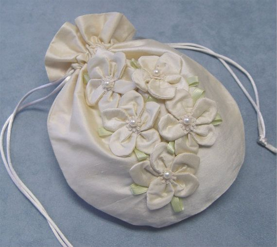 Bridal purse handbag drawstring bag wedding dupioni silk ...
