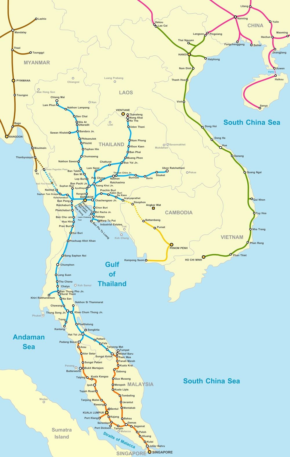 Map Of Asia Cities.Rail Map Of Southeast Asia Indochina Southeast Asia Railways
