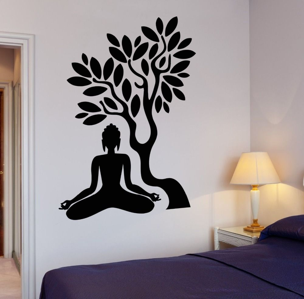 3d butterfly mural wall sticker decor decal pop up stickers art - Cheap Home Decor Buy Quality Art Wall Sticker Directly From China Wall Sticker Suppliers Buddha Vinyl Decal Buddha Tree Blossom Yoga Meditation Relaxation