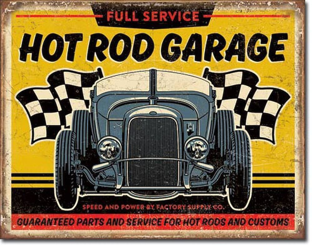 Hot Rod Garage 32 Rat Rod Full Service Vintage Retro Car Metal Tin ...