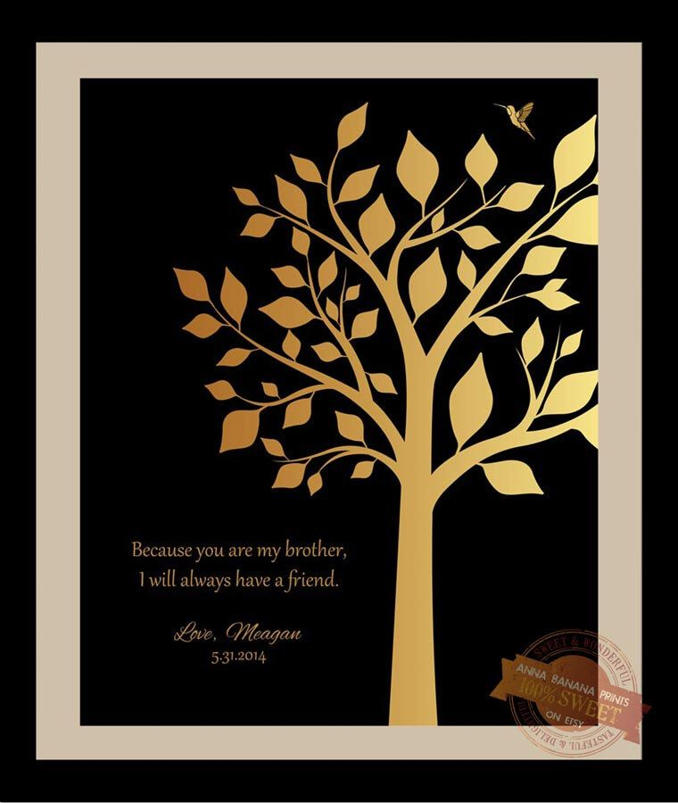 Black And Gold Brother Gift Personalized Gift For Brother Wedding