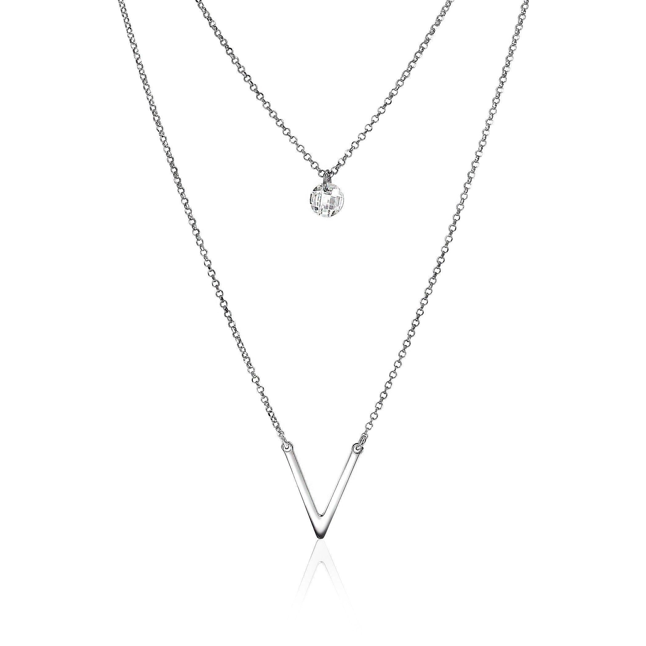 deea99153d8 Zinzi zilveren ketting ronde rijzetting wit 40-45cm ZIC1067   Jewelry -  Silver, Jewelry en Minimalist