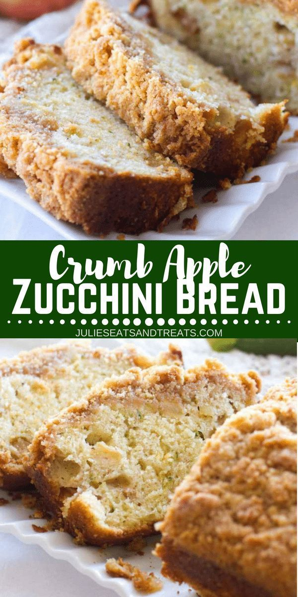 Crumb Apple Zucchini Bread ~ Easy, Quick Bread Recipe Filled with Fresh Grated Zucchini and Sweet Apples then Topped with a Delicious Cinnamon Brown Sugar Crumb Topping! Visit juliese