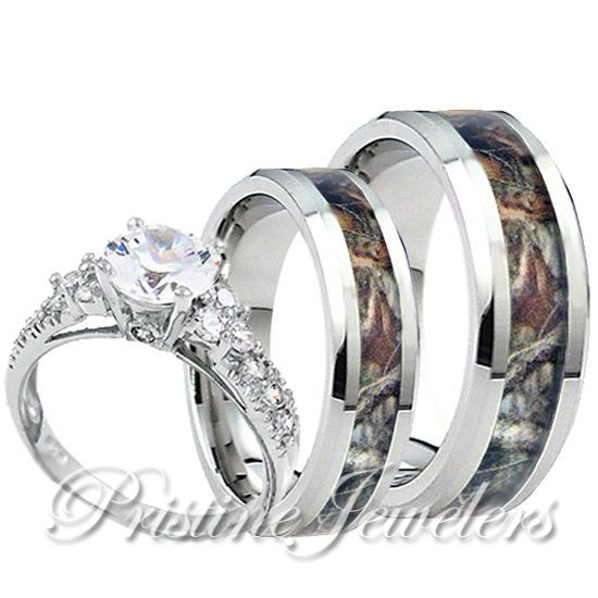 Womens 925 Sterling Silver Ring Mens Titanium Mossy Forest Oak Camo Band 3pc Set Camo Wedding Rings Sets Camo Wedding Rings Cool Wedding Rings