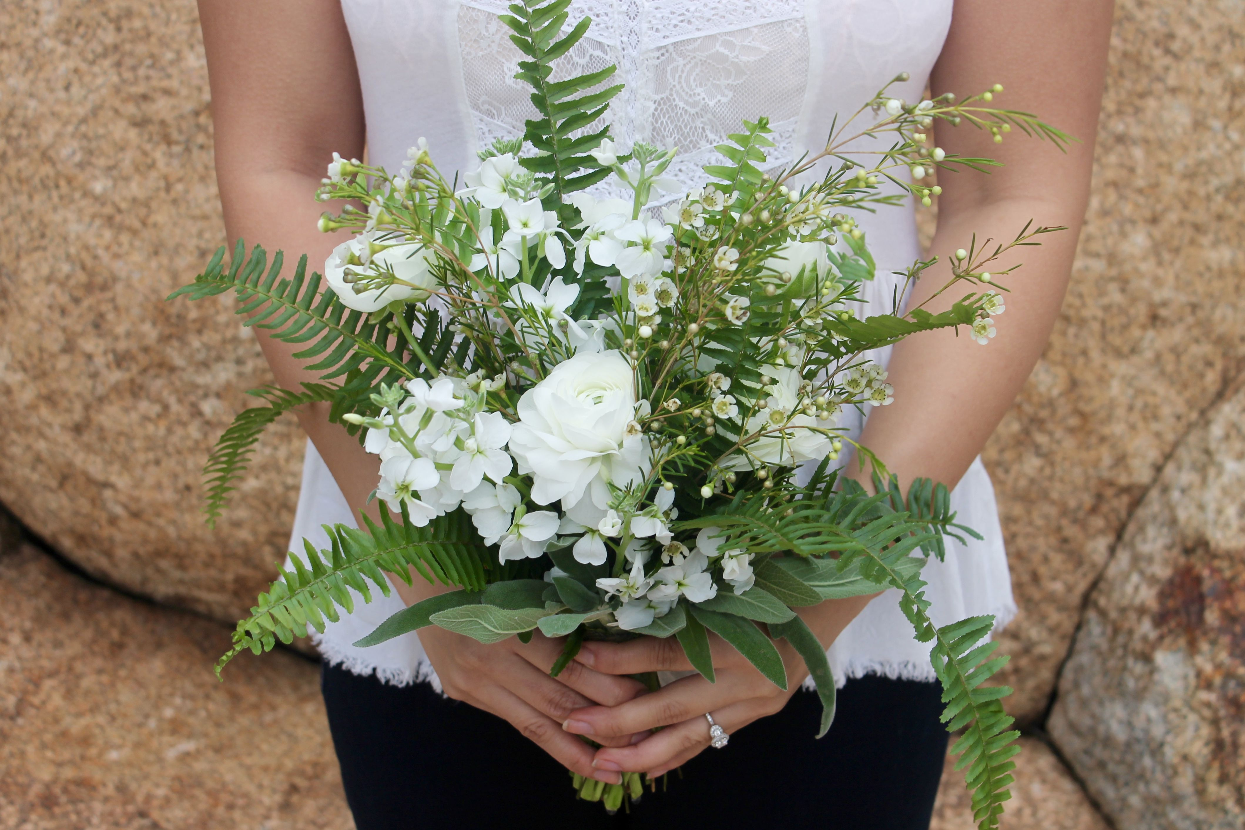 Bridal Bouquet Ingredients Ranunculus Sword Fern Wax Flower Wildflowers And Sage Wax Flowers Wild Flowers Bridal Bouquet