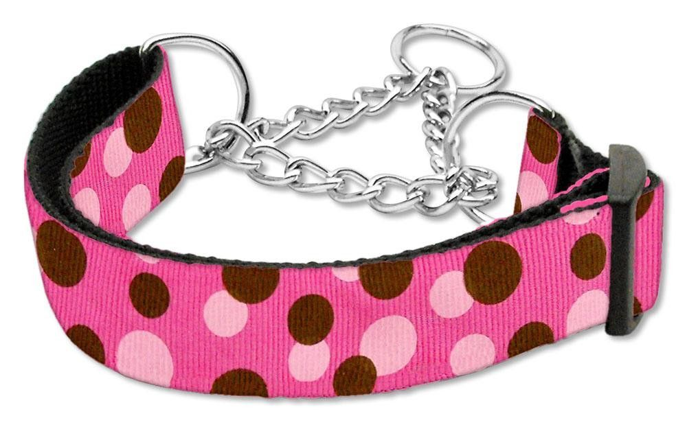 Confetti Dots Nylon Collar Martingale Bright Pink Large