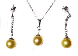 Huge Golden South Sea Pearl & Diamond 14K Pendant & Earrings set $1,249.00