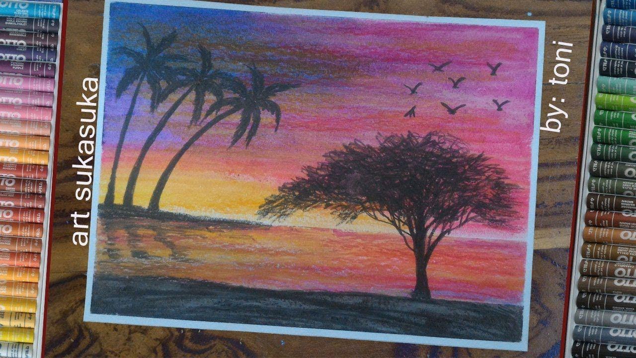 Cara Menggambar Dan Mewarnai Pemandangan Sunset Gambar Crayon Art