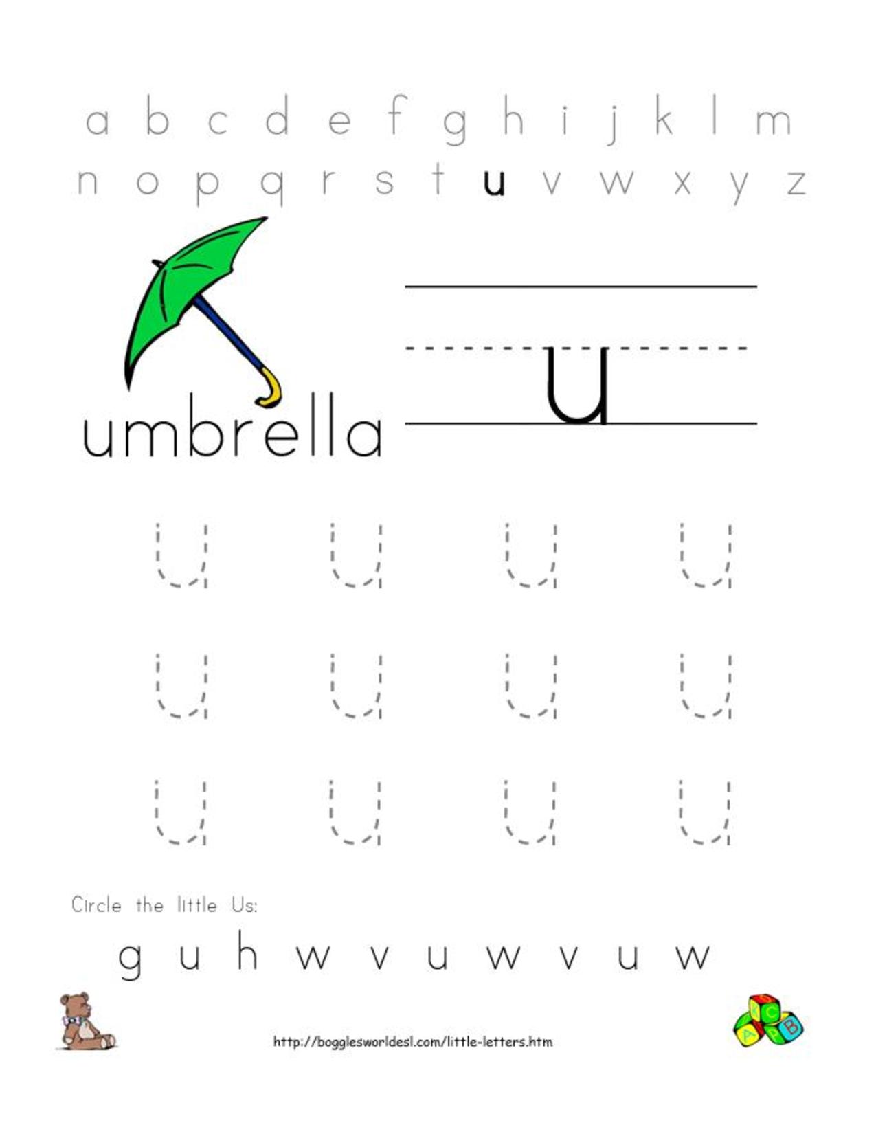 alphabet worksheets for preschoolers alphabet worksheet little letter u doc doc. Black Bedroom Furniture Sets. Home Design Ideas