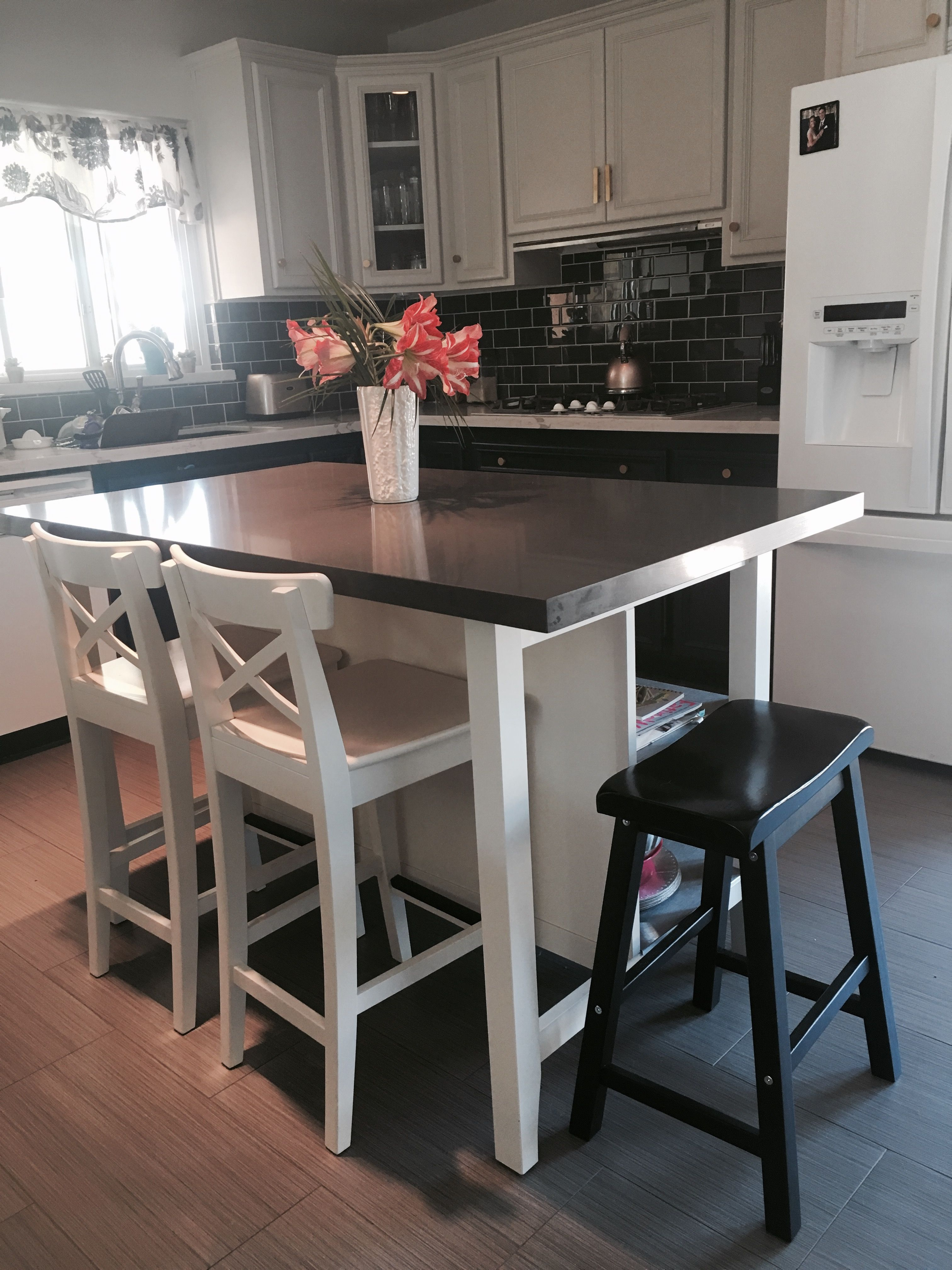 kitchen islands ikea small buffet stenstorp island hack here is another view of our we added grey quartz on top with more room to add a saddle bar stool