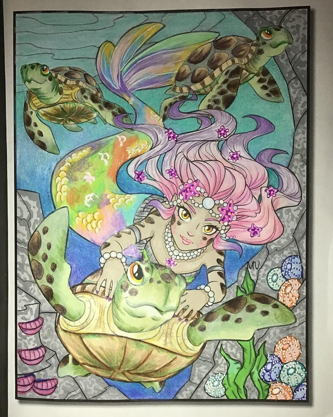 Mermaid Coloring Book by Jade Summer  Colored by Melissa A Veltri