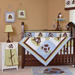 Blue, brown and green are popular colors for little boys nurseries as are turtles and frogs. Here's an adorable 'Mr. and Mrs. Pond' crib bedding set by Pam Grace that incorporates both.