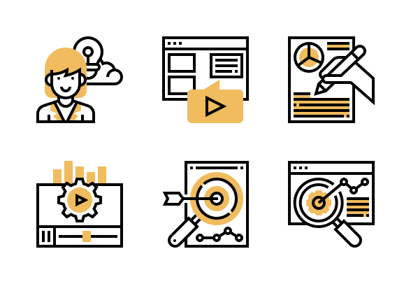 Content Marketing Icons By Eucalyp Studio Marketing Icon Content Marketing Icon Design Inspiration
