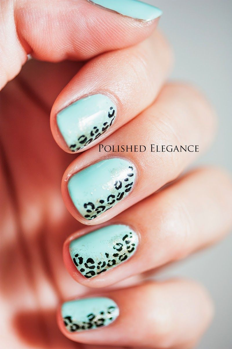 Mint gold black leopart nail art manicure mint leopard nail art manicure animal print nail art manicure
