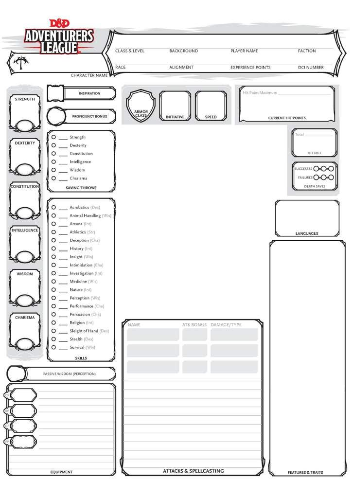 different character sheet format