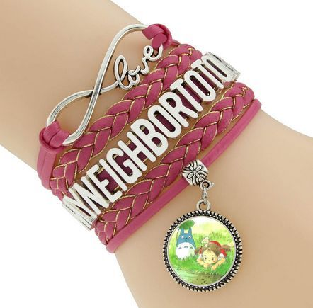 Novelty interesting totoro badge bracelet glass cabochon cartoon art picture bracelets popular tv movie fans jewelry