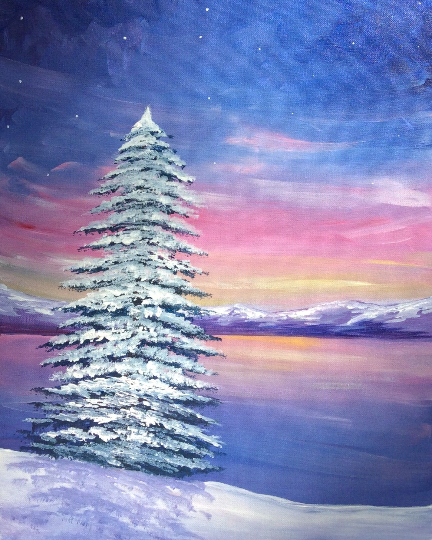Easy Winter Kids Crafts That Anyone Can Make: Paint Nite - Winter At The Lake