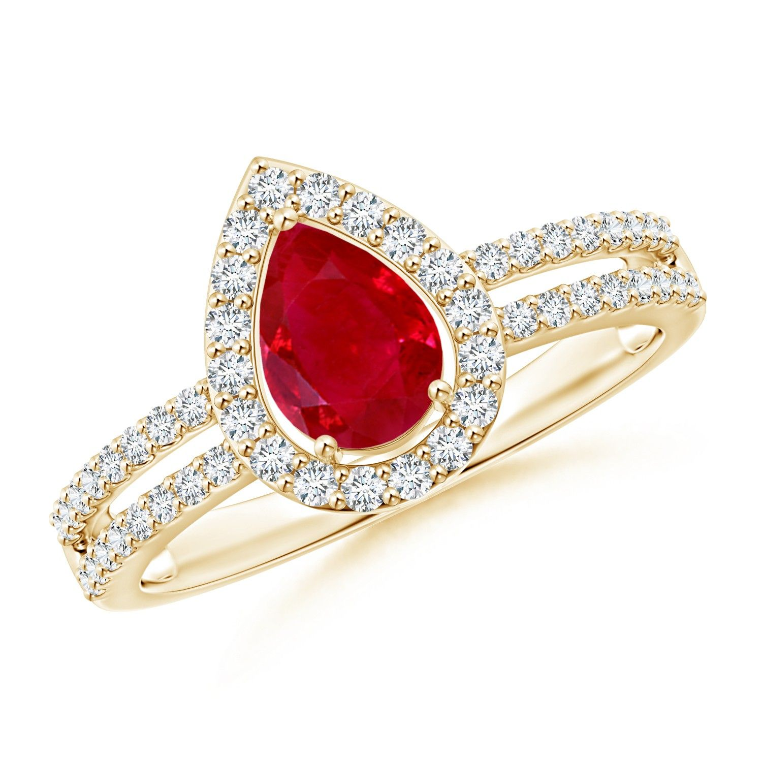 Angara Diamond and Ruby Framed Halo Engagement Ring in Yellow Gold