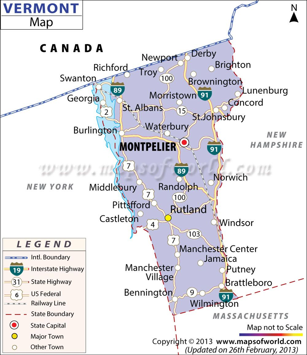Vermont map showing the major travel attractions including cities