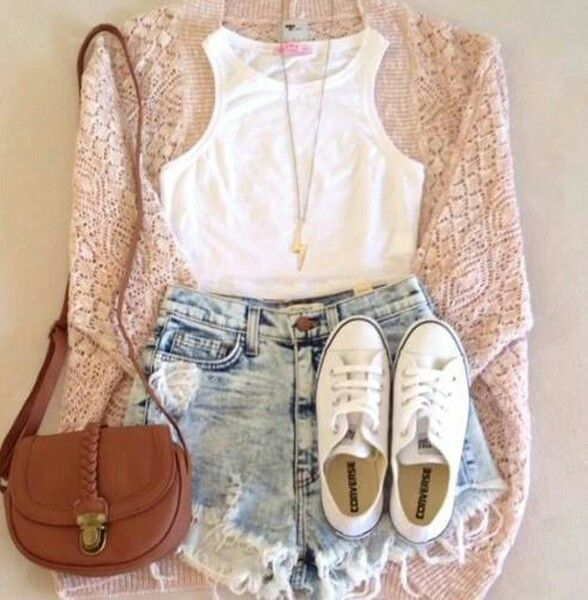 bag, converse, crop top, fashion, high waisted shorts, necklace ...