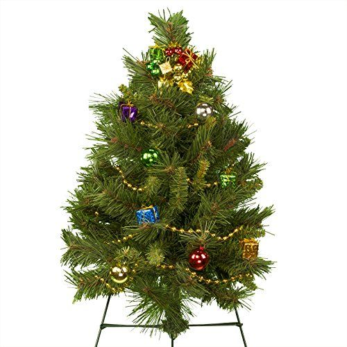 24 Inch Decorated Artificial Christmas Tree On 30 Easel