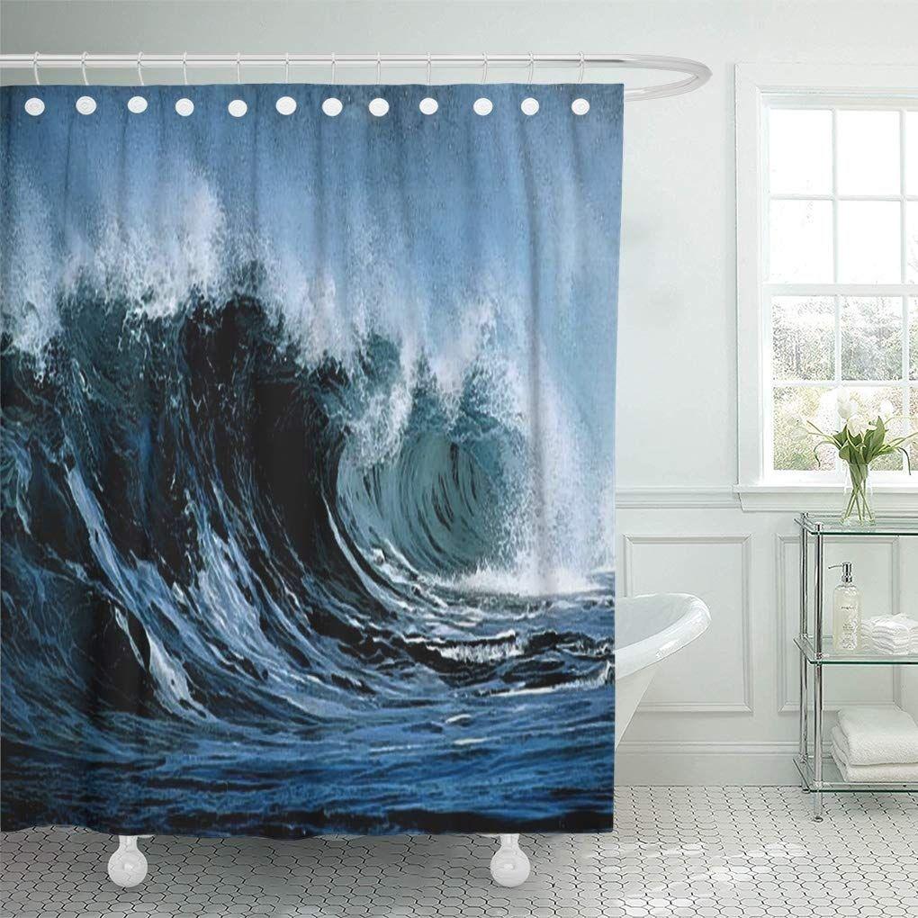 Blue Sea Crashing Ocean Waves Beach Tropical Storm Majesty Shower