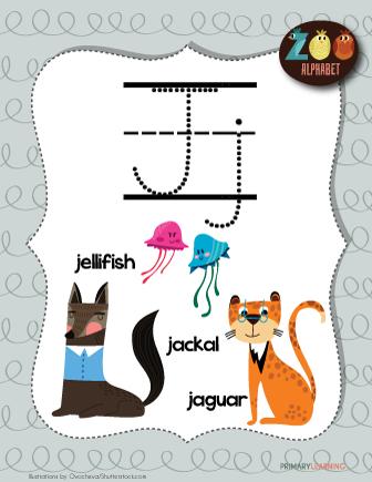 Letter J Animals Printable Poster Alphabet Letter Hunt Animal Alphabet Letter J