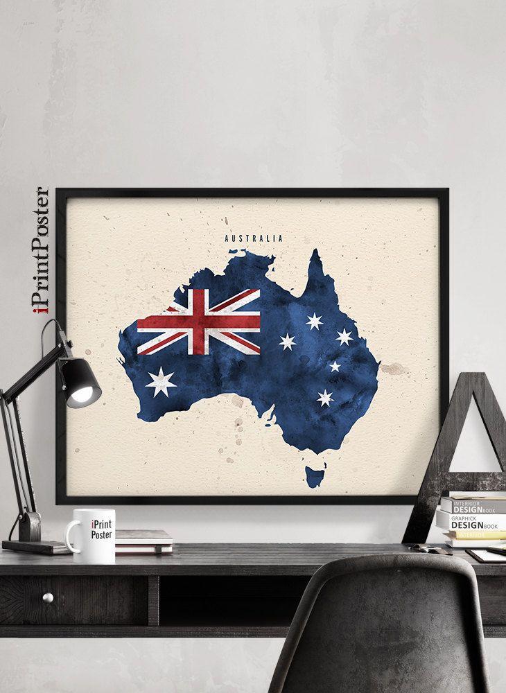 Australia wall art print, Australia flag map poster, art prints ...