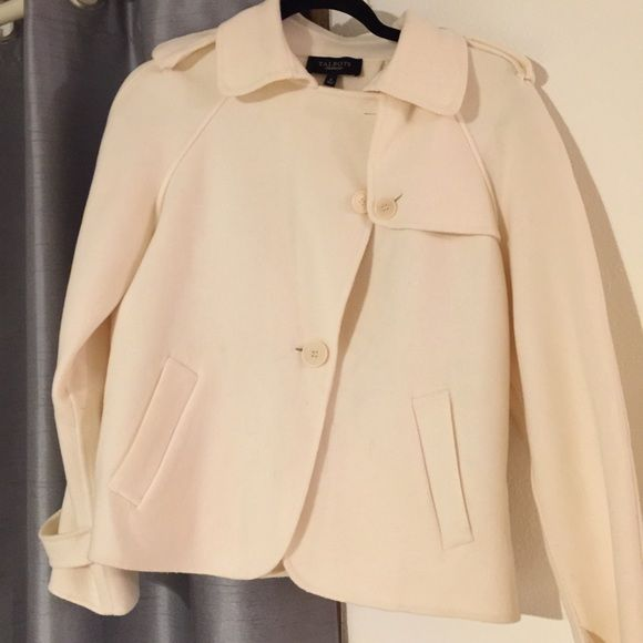 Talbots wool jacket Beautiful, just a little small for me. Off white/ivory color. Talbots Jackets & Coats