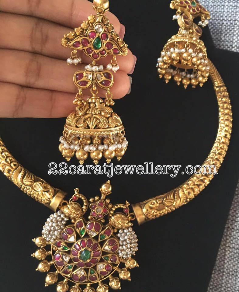 Diamond South Indian Jewellery: Traditional Kante With Kundan Jhumkas