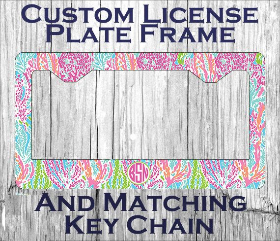 Custom Monogrammed personalized license plate frame. Lilly Pulitzer ...