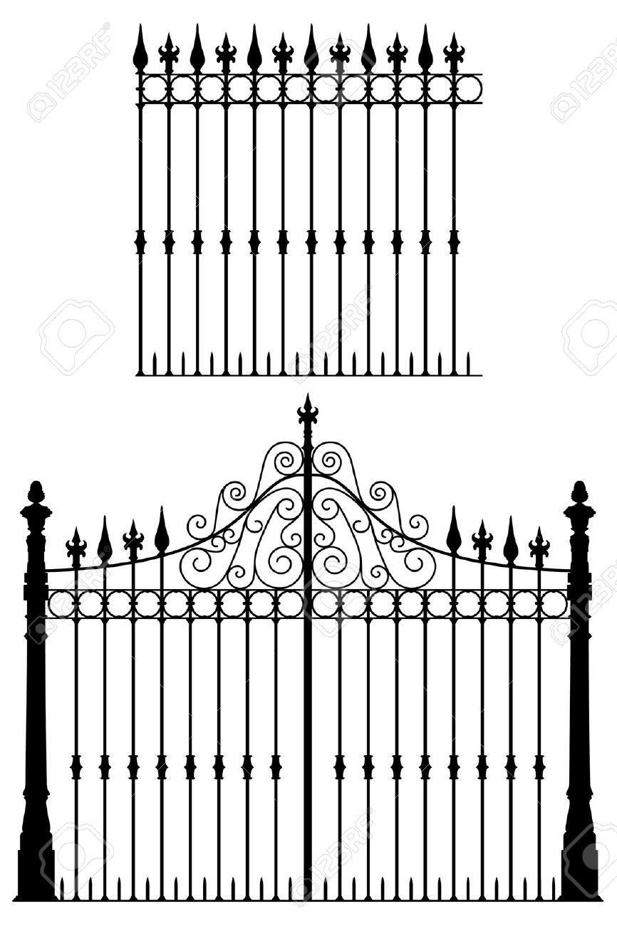 Wrought Iron Gate And Modular Fences Royalty Free Cliparts