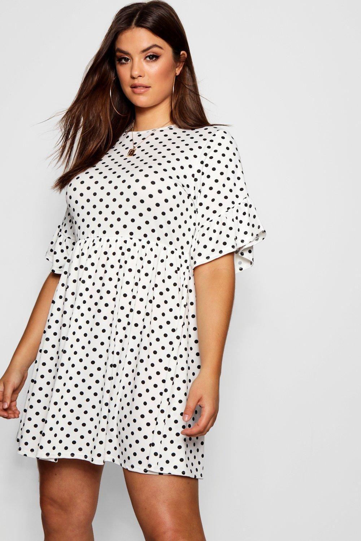 26d1fe7898544 Plus Polka Dot Smock Dress in 2019 | Sara G | Dresses, Smock dress ...