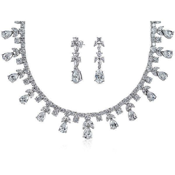 Bling Jewelry Splendid Bride Set ($126) ❤ liked on Polyvore featuring jewelry, clear, jewelry sets, jewelry-sets, bride jewelry set, bridal jewelry, bridal jewelry sets, set jewelry and bride jewelry