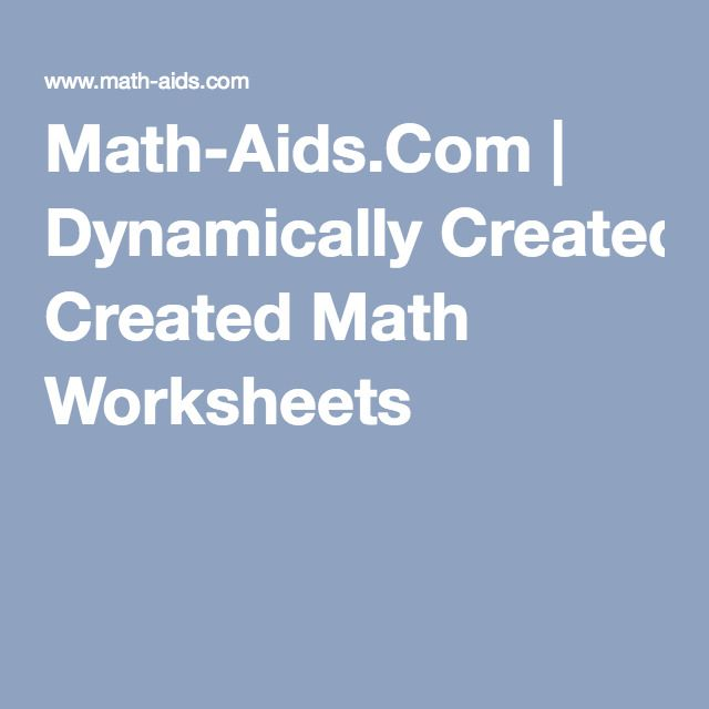 Math-Aids.Com | Dynamically Created Math Worksheets | School is Cool ...