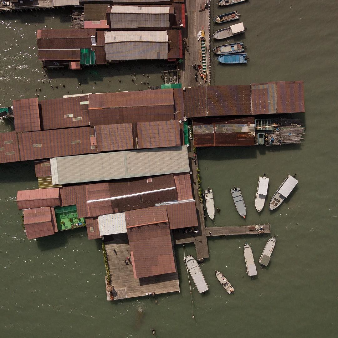 View of Chew Jetty from above. Walking through the UNESCO