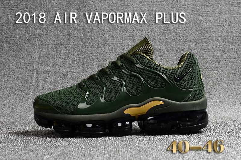 Nike Air Vapormax TN Plus 2018 Green Gold Men Running Shoes  17775f898