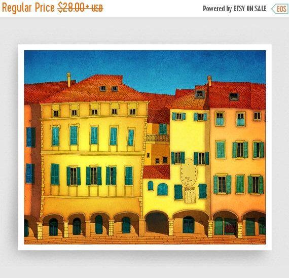 20 OFF SALE Italian facade - Italy illustration Art Home decor
