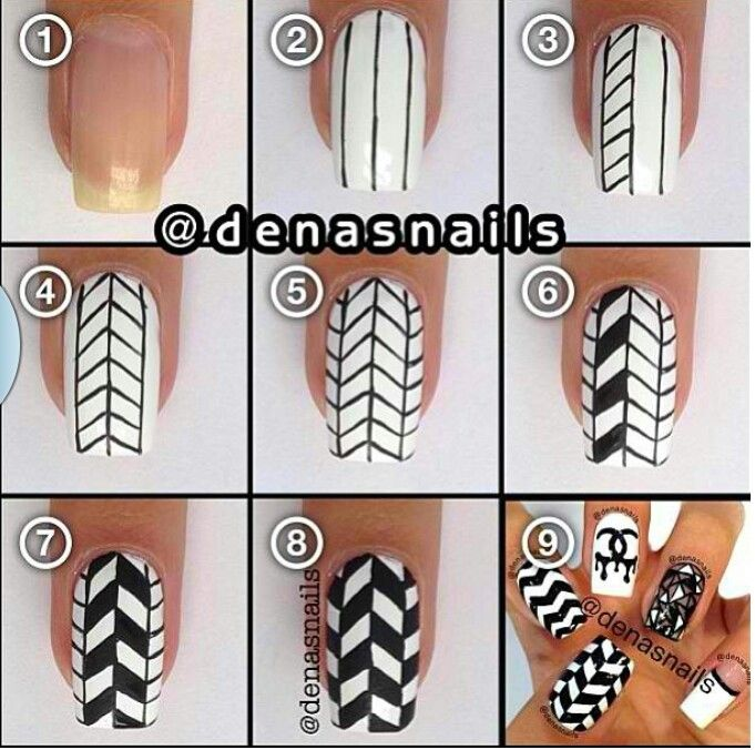 Awesome Chevron Design Sharpie Nail Art Funky Nail Art Diy Nail Designs