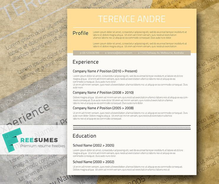 Professional  Free Cv Design  Buff Yellow  Cv Template Cv