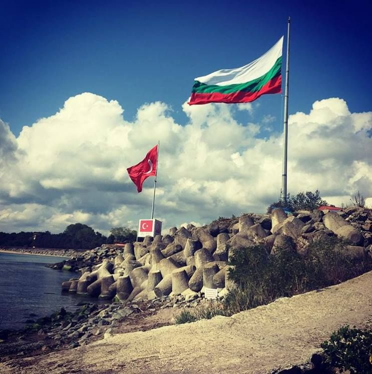 The border between Bulgaria and Turkey on the Black Sea