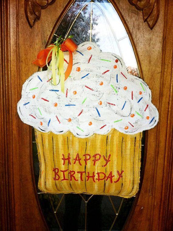 Happy Birthday Cupcake Burlap Door Hanger/ Door Decor - customized to your colors